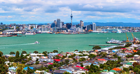 Auckland city downtown from the Borough of Devonport peak