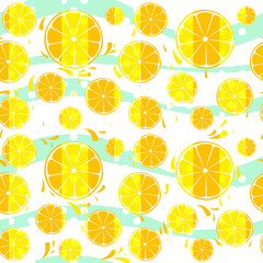 Lemons and oranged slices seamless pattern splash background