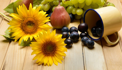 pears, plums, grapes and sunflowers on the wooden background