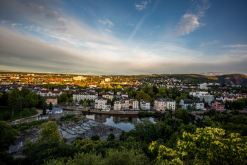 Panorama von Bad Kreuznach an einem Sommerabend