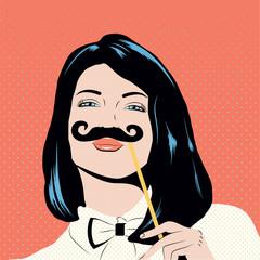 Pop art illustration with girl holding mustache mask.