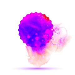 Purple magic watercolor drawing label with splash