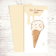 Cafe menu template with hand drawn ice cream in a waffle cone
