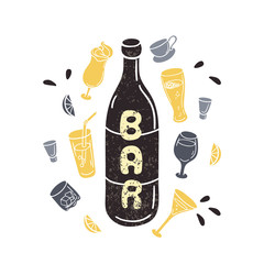 Doodle wine bottle illustration in vector. Hand drawn textured
