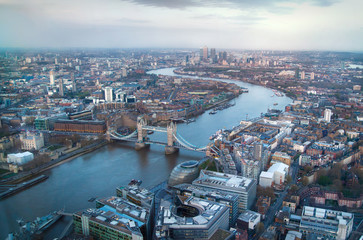 LONDON, UK - APRIL 15, 2015: City of London panorama at sunset, arial view