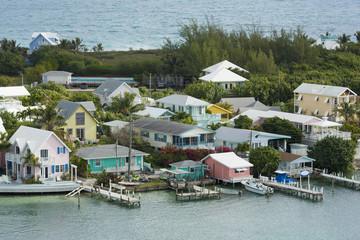 aerial of Hopetown, Bahamas
