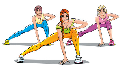 Three girl engaged in fitness club. Group classes. Stretching