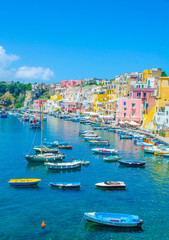 Fotobehang Kust italian island procida is famous for its colorful marina, tiny narrow streets and many beaches which all together attract every year crowds of tourists coming from naples - napoli.