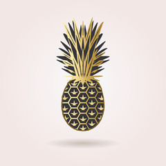 Single black and golden abstract pineapple icon with dropped shadow on pink gradient beckground