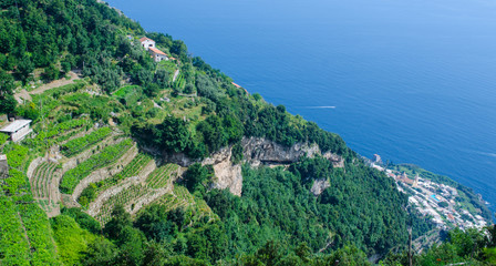 famous hiking trail sentiero degli dei is leading on the top of amalfi coast in italy and except pristine nature visitors can also see cities positano, praiano, nocelle and others.
