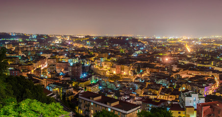 night aerial view of naples in italy taken from castel sant´elmo