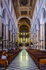 Interiors and details of the Duomo, cathedral of Naples, built 14th century for saint Januarius, camapnia,