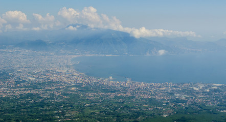 Aerial view of a countryside around Mount Vesuvius and Bay of Naples, Italy