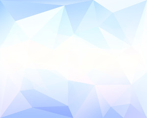Polygonal triangle vector background, blue, white and turquoise