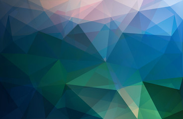 Polygonal triangle vector background, blue, rose, green and turq