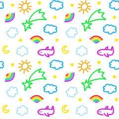 Seamless pattern with sky objects, in vector
