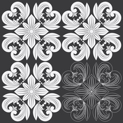 Tropical Floral Carving Pattern. Vector Illustration Layered. Seamless Pattern Background With Decorative Floral Elements.