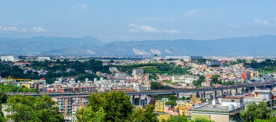 aerial view of italian city naples from the top of capodimonte hill.