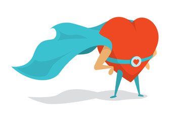 Super heart love hero wearing a cape