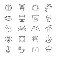 Environmental and Green Energy Icons Line