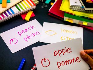 Learning New Language Making Original Flash Cards; French