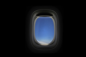 Window Airplane with blue sky