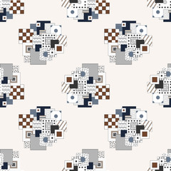 Seamless abstract pattern with rectangles and squares