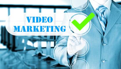 business man pressing checkbox Video Marketing