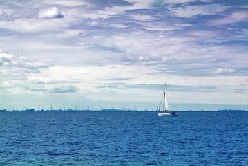 Sailing Boat on Open Blue Sea
