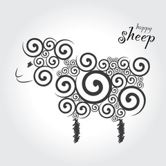 illustration cartoon  sheep  on the white background