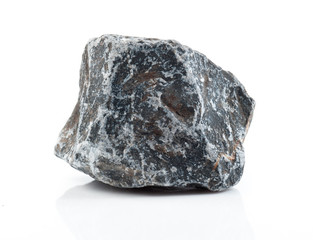 Fragment of granite on a white background.