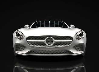 Sports car front view. The image of a sports white car on a