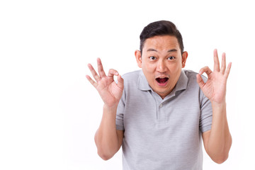 happy, exited man giving ok hand sign gesture