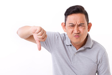 angry, disappointed, frustrated man giving thumb down gesture