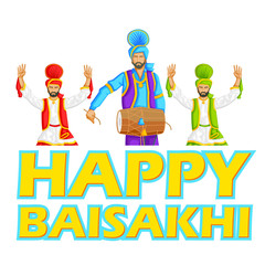 Sikh doing Bhangra, folk dance of Punjab, India for Happy