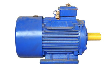 Big blue electric motor with yellow shaft
