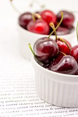 Bowl with ripe cherries