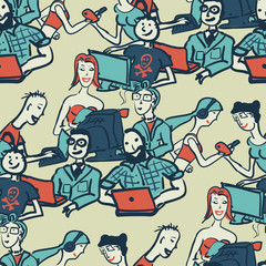 Textile seamless pattern with people chattering on the Internet