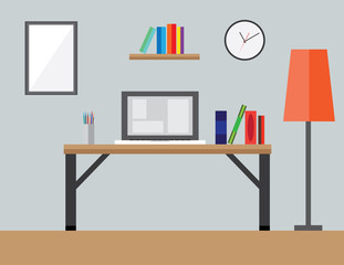 Flat Style Modern Design Concept of Creative Office Workspace Icons