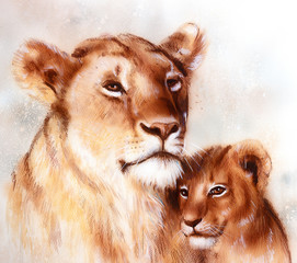 lion mother and cub painting on paper. old vintage style