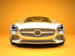 Sports car front view. The image of a sports white car on a gold