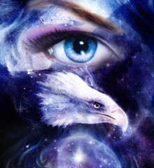 eagle with woman eye on abstract background and Yin Yang