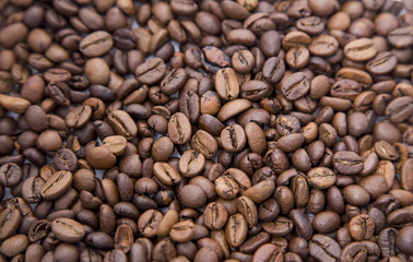 The coffee beans and coffee background