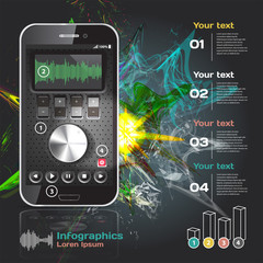 set of infographics for smartphone applications on the theme of