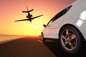 Car and airplane