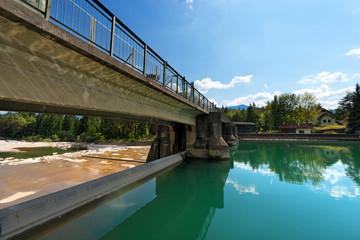 Old Dam on the Gail River - Austria / Ancient dam on the Gail river in Arnoldstein - Carinthia Austria