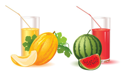 glasses for juice from melon and watermelon isolated on a white background