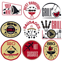Set bbq, grill; sausages; restaurant; steak; retro vintage badge