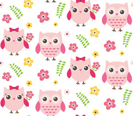 Vector seamless pattern of cute owls and spring elements. Girly owls, flowers and branches.