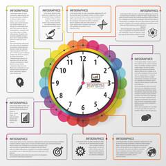 Modern work time management planning infographics. Business concept. Vector illustration